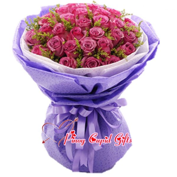 50 imported purple roses