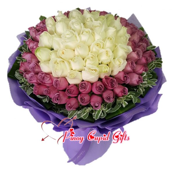 99 Mixed Imported Purple & White Roses Bouquet 06