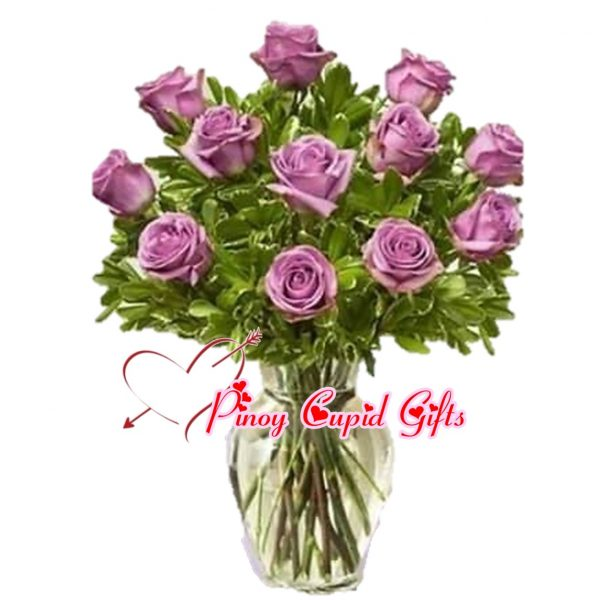 Imported Purple Roses in a Vase