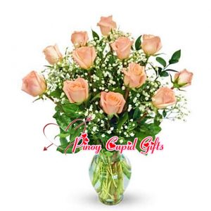 10 Imported Pink Roses in a Vase
