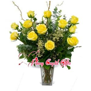 Imported Yellow Roses in a Vase