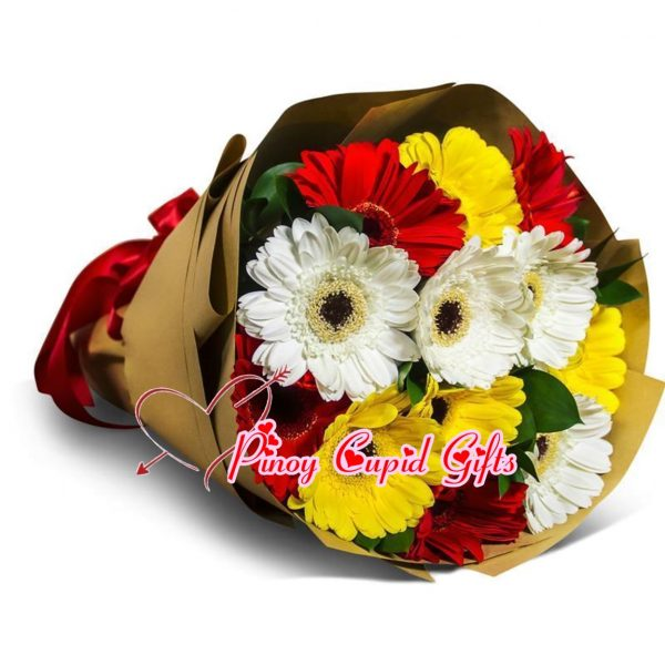 Mixed (Red/White/Yellow) Gerberas Bouquet