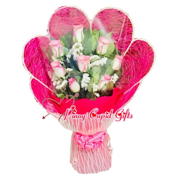 10 2-tone Pink Roses in a hand bouquet