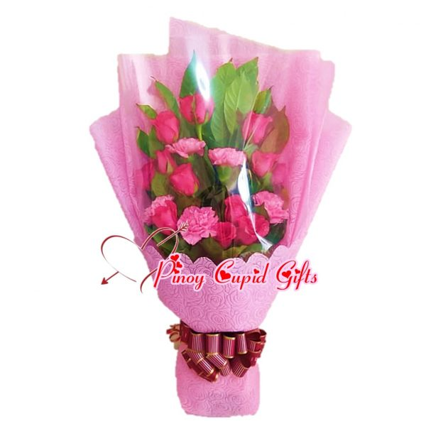 1 Dozen Pink Roses with pink carnations
