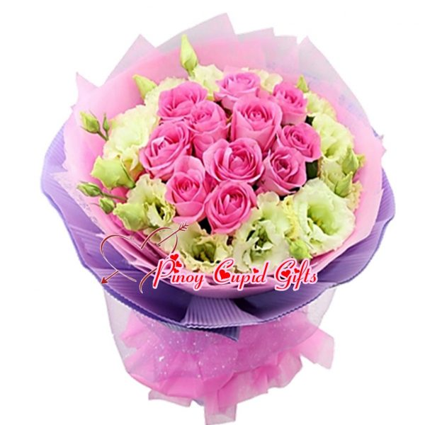 10 Imported Pink Roses with Imported white Eustomas