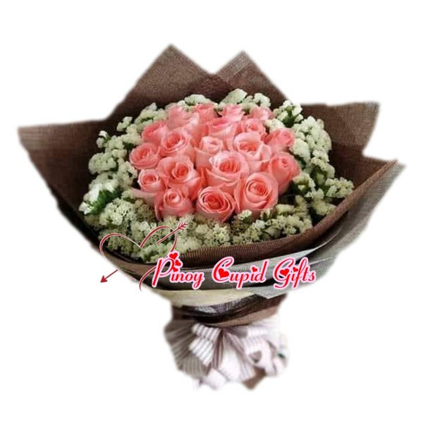 20 Imported Pink Roses Bouquet
