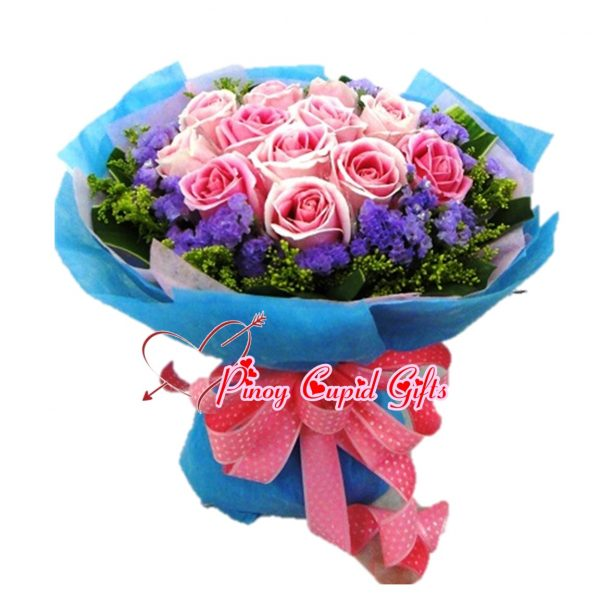 10 Imported Pink Roses in a hand bouquet