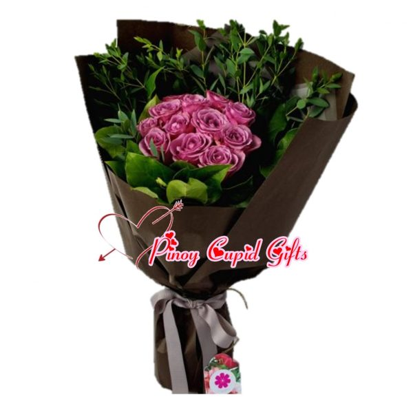 10 Imported Purple Roses Bouquet