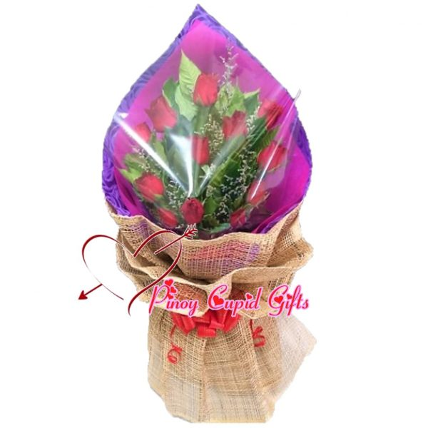 12 Red Roses Hand Bouquet