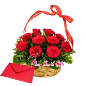 Reds Roses in a Basket