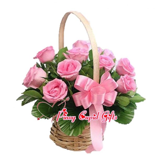 Imported Pink Roses in a Basket