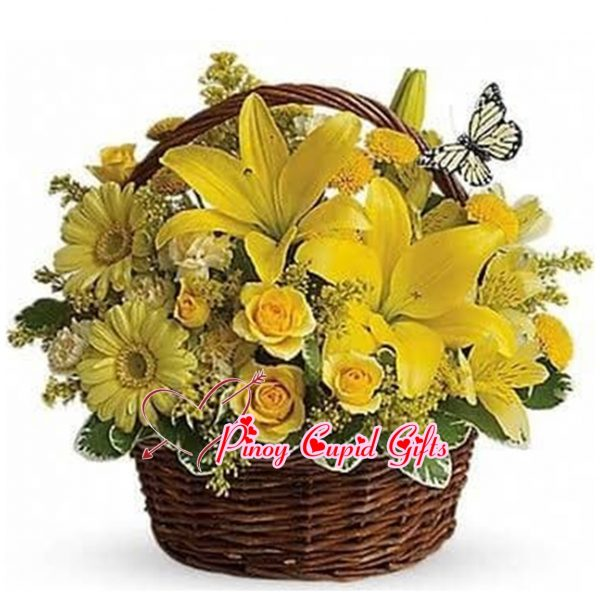 Imported Yellow Lillies, Gerberas and Roses in a Basket