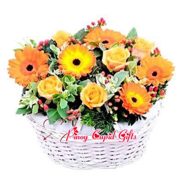 Yellow Gerberas and Roses in a Basket