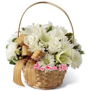 White Roses, White Lilies, White Gerberas in a Box