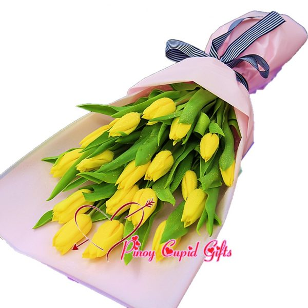 20 Yellow Holland Tulips in a Bouquet