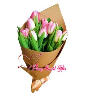 10 Pink Holland Tulips in a Bouquet