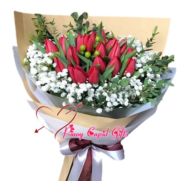 20 Red Holland Tulips in a Bouquet