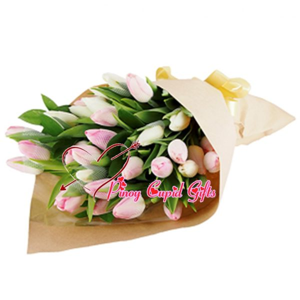 20 Pink Holland Tulips in a Bouquet