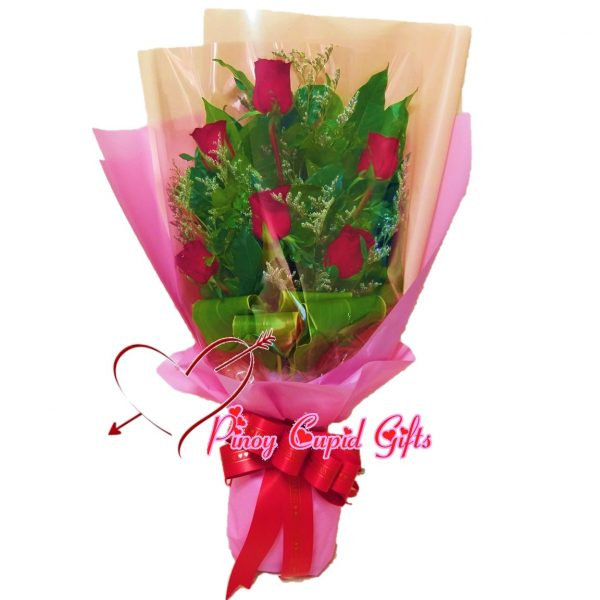 6 Red Roses in a hand bouquet