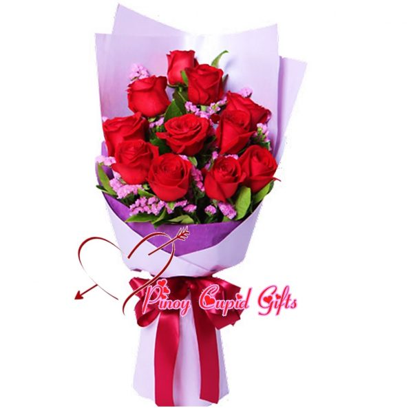 10 Imported Red Roses Hand Bouquet