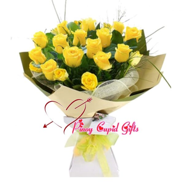 20 Yellow Roses in a Hand Bouquet