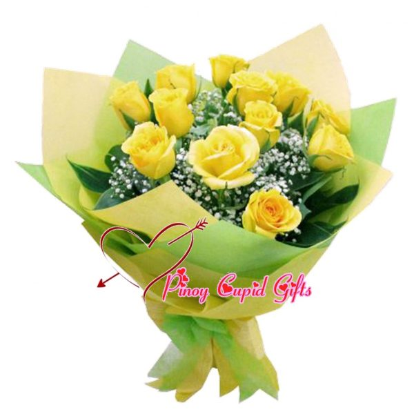 12 Imported Yellow Roses in a Hand Bouquet