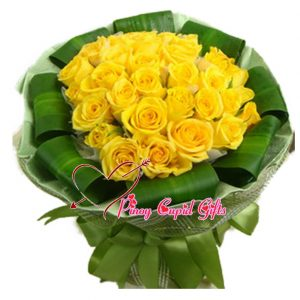 40 Imported Yellow Roses in a hand bouquet