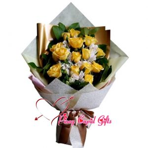 10 Imported Yellow Roses in a hand bouquet
