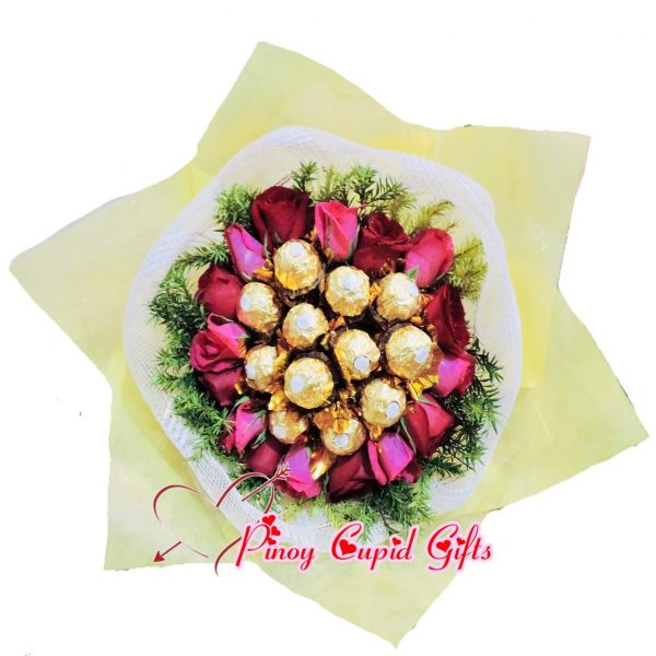 12 Ferrero Chocolate and 18 red/pink flowers