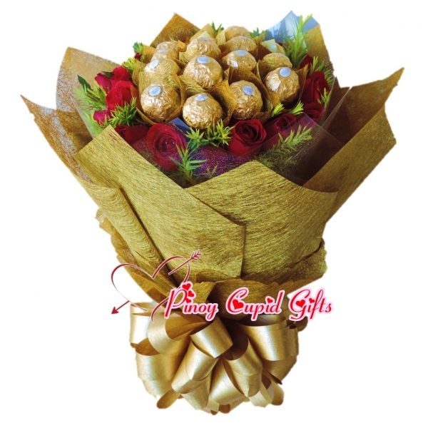 18 Red Roses with 16 pcs Ferrero Chocolates inHand Bouquet