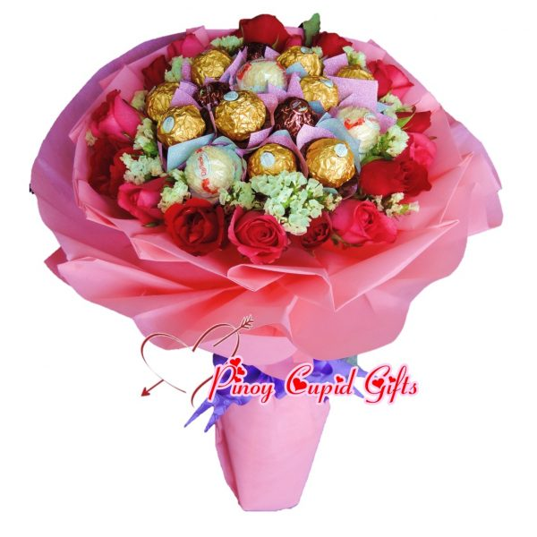 16 Ferrero and 18 Red/Pink Roses in Hand Bouquet