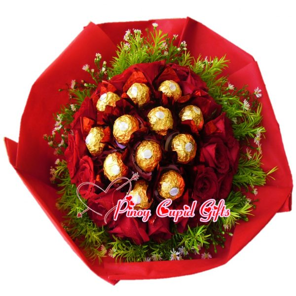 18 Red Roses with 12 pcs Ferrero Chocolates Hand Bouquet