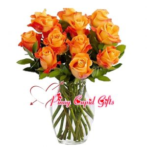 12 Imported 2-toned Orange Roses in a Vase