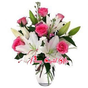 Mixed Roses and Lilies in a Vase
