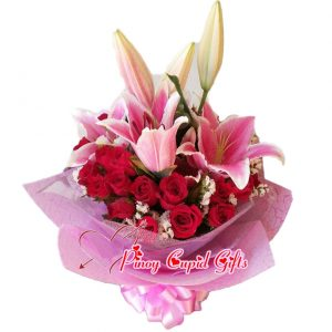 2 Dozen Red Roses with Stargazers