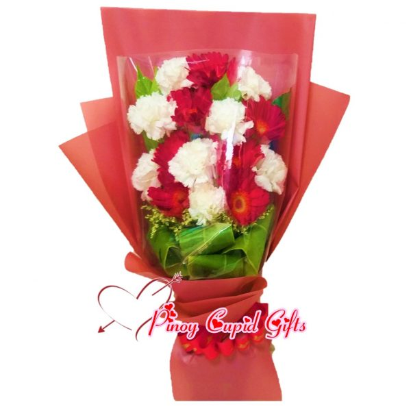 Mixed Red/White Carnations in a Bouquet