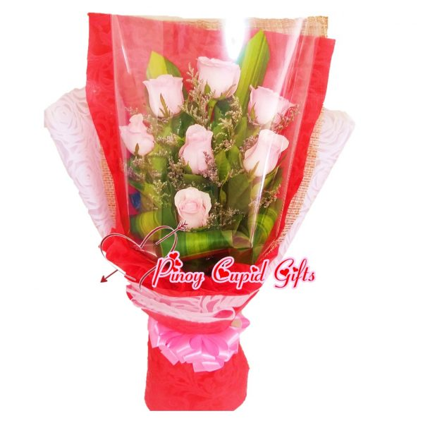 7 Imported Pink Roses in a Hand Bouquet