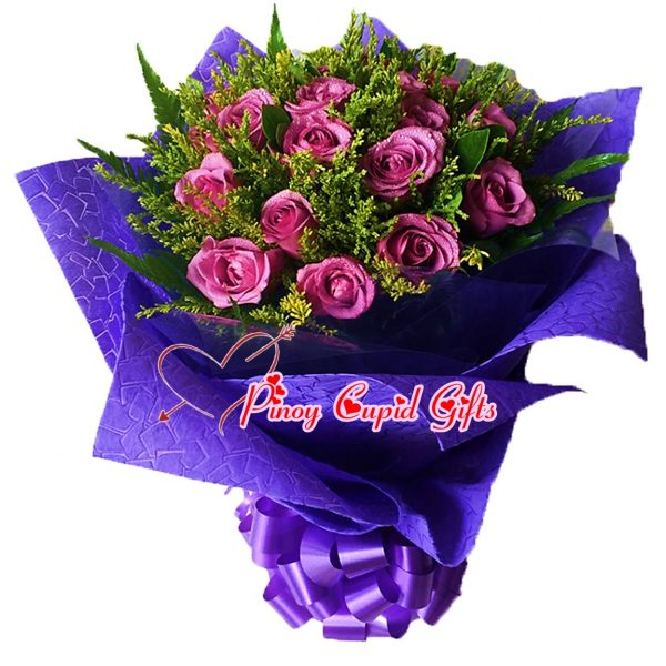 1o Imported Purple Roses in a bouquet
