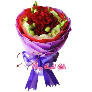2 Dozen Red Roses with imported Eustoma