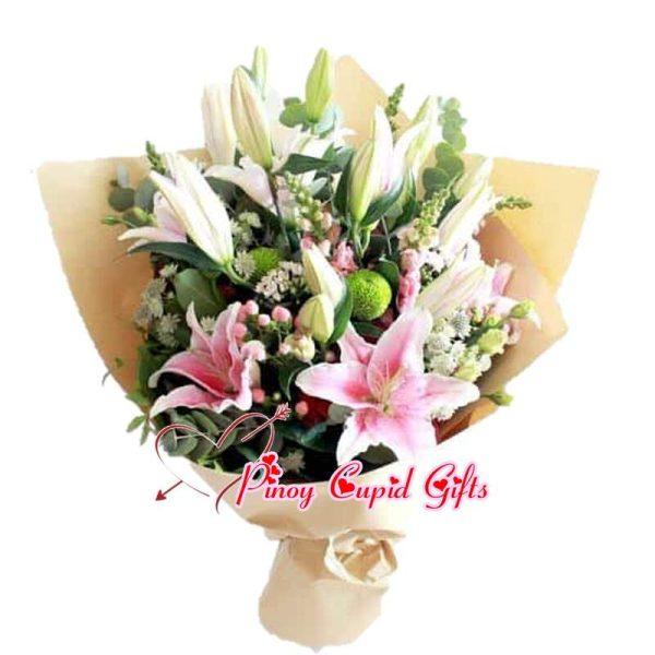 10 Pink Holland Stargazer Lillies Hand Bouquet (3 stems)