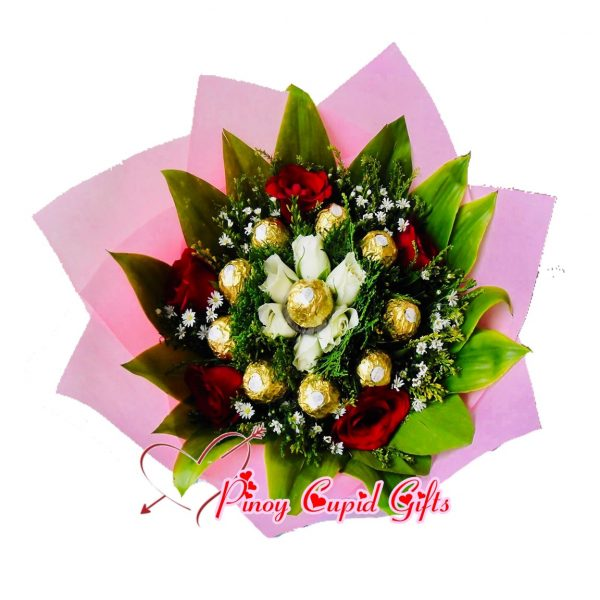 12 pcs Ferrero, 6 white roses, 5 red roses in a hand bouquet