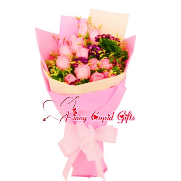 10 Imported Pink Roses Bouquet