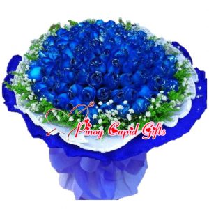 50 Blue Roses in a Hand Bouquet