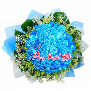 99 Blue Roses in a Hand Bouquet