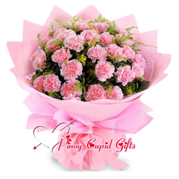 2 Bunches Pink Carnations Bouquet