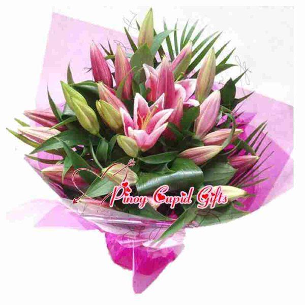 15 Pink Stargazer Lilies in a Hand Bouquet (4-5 stems)