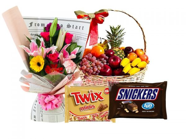 Mixed Roses Bouquet, Twix & Snickers Mini Packs, Fruit Basket: 1 Pineapple, 1/2 kilo Red Grapes, 5 Bananas, 5 Oranges, 5 Red Apples, 5 Pears