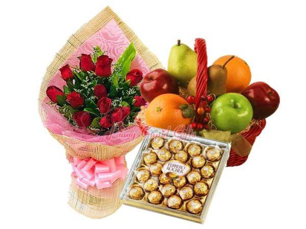 1 Dozen Red Roses Bouquet, 24pcs Ferrero Chocolate, Fruit Basket: 2 Oranges, 2 Red Apples, 2 Green Apples, 2 Pears