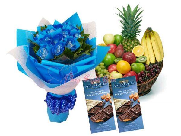 1 Dozen Blue Roses Bouquet, Ghirardelli Dark Chocolate Bars (2x100g,) Fruit Basket: Fruit Basket: 1 Pineapple, 4 Oranges, 4 Red Apples, 4 Green Apples, 4 Pears, 5 Bananas, 1/2 Kilo Green Grapes, 1/2 Kilo Red Grapes, 3 Lemons, 3 Kiwis