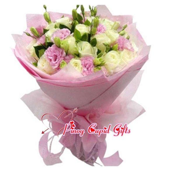 Mixed White/Pink Eustoma Bouquet
